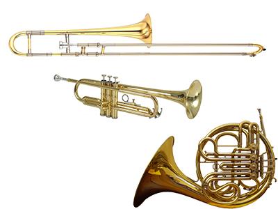 Afbeelding van een trombone, een trompet en een hoorn